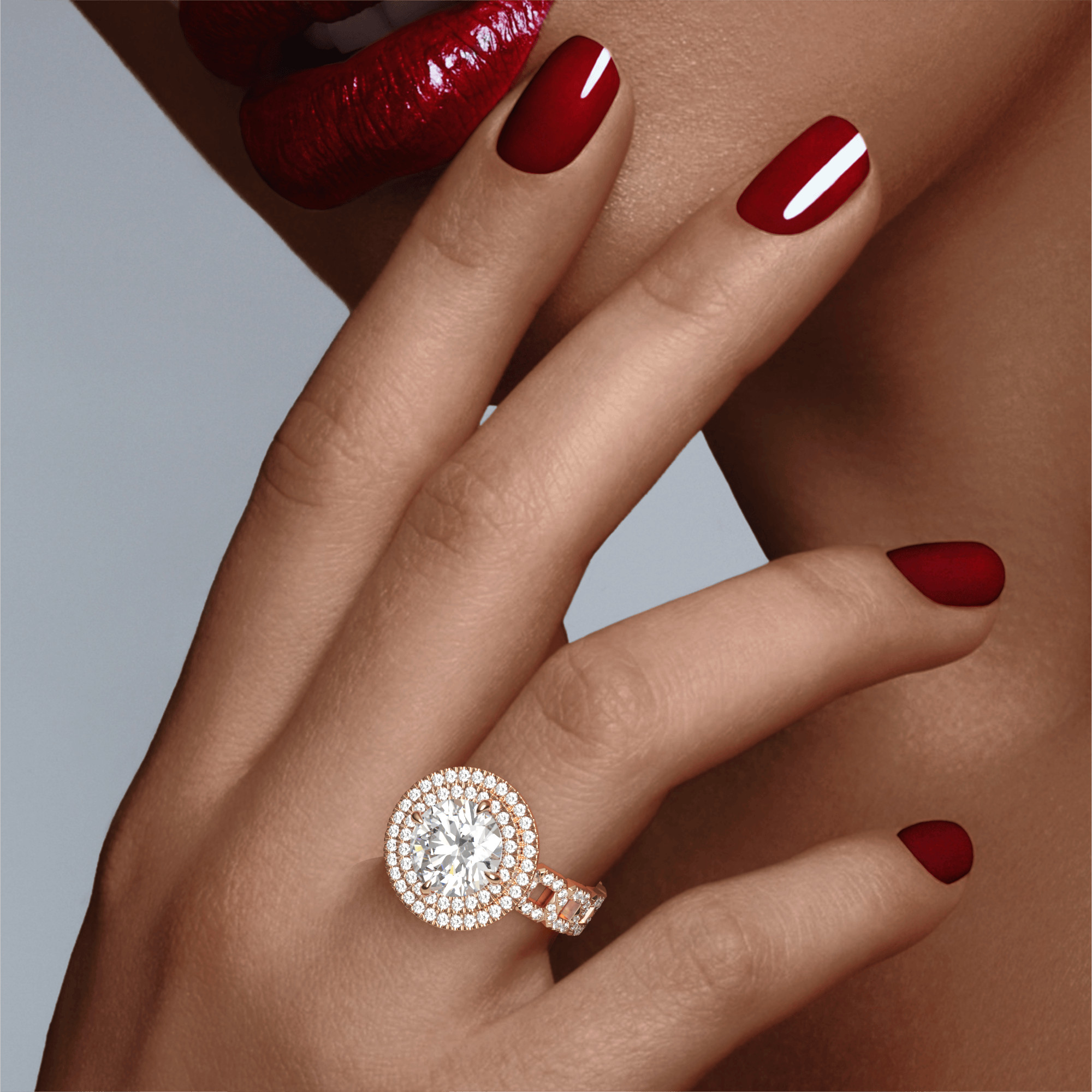 ROUND CUT, DOUBLE HALO SETTING, 16 PAVE LINKS, 18K ROSE GOLD