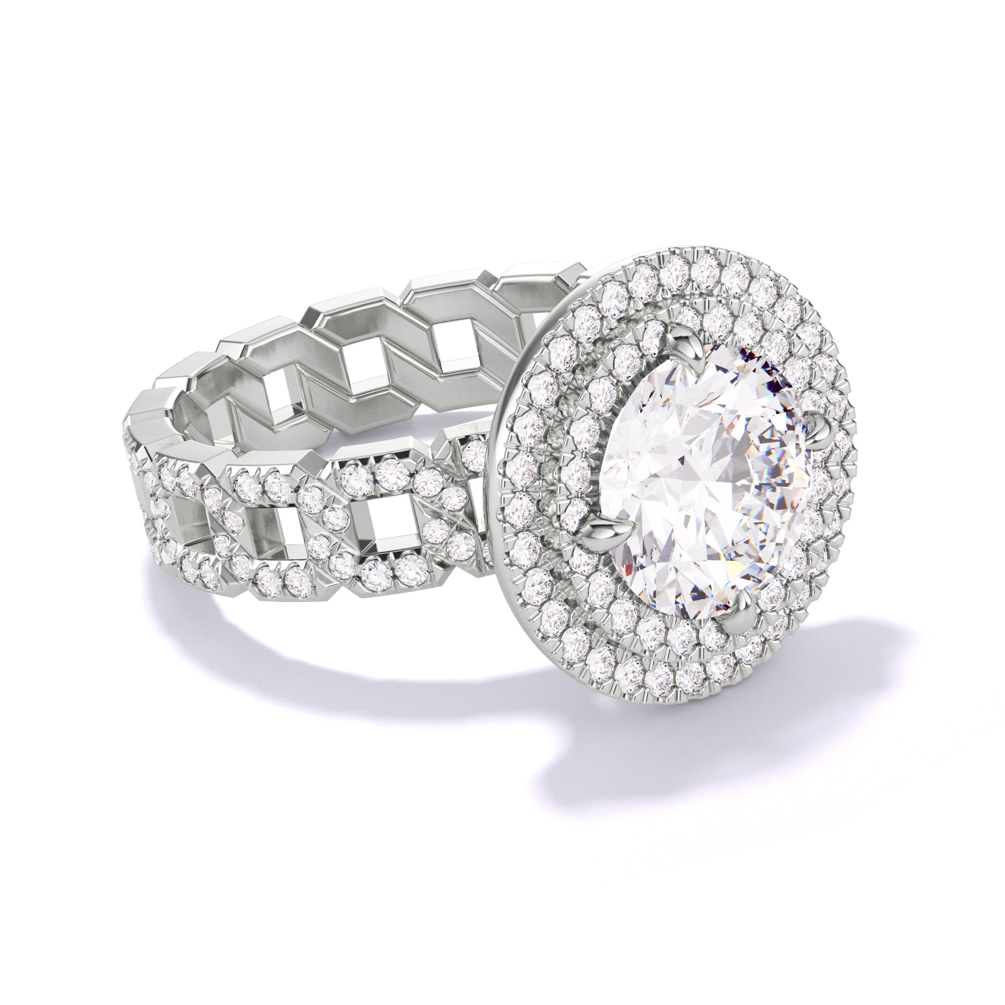 ROUND CUT, DOUBLE HALO SETTING, 16 PAVE LINKS, PLATINUM