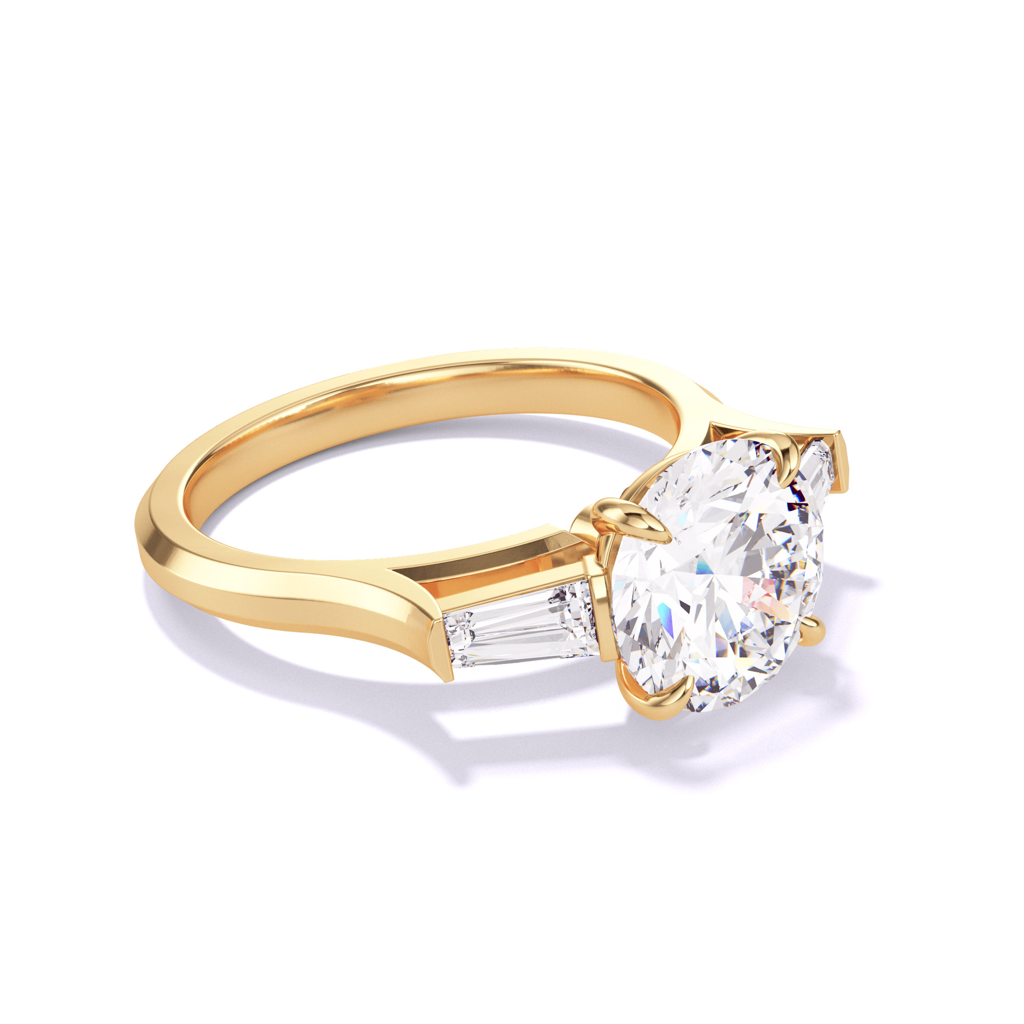 ROUND CUT, BAGUETTE FLANK SETTING, THREE PHASES SLIM, 18K YELLOW GOLD