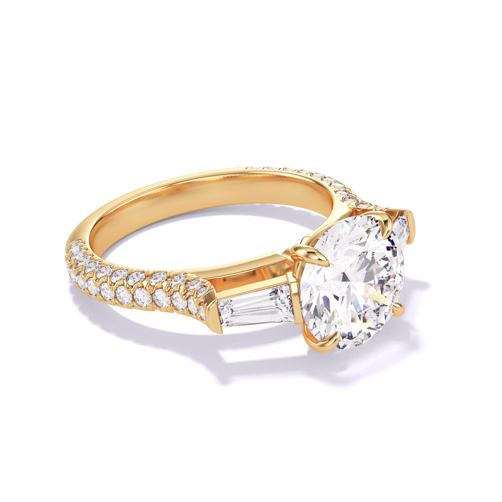 ROUND CUT, BAGUETTE FLANK SETTING, THREE PHASES TRIPLE PAVE, 18K YELLOW GOLD