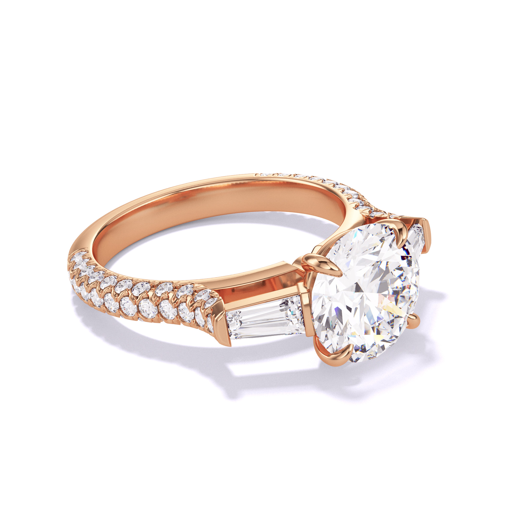 ROUND CUT, BAGUETTE FLANK SETTING, THREE PHASES TRIPLE PAVE, 18K ROSE GOLD