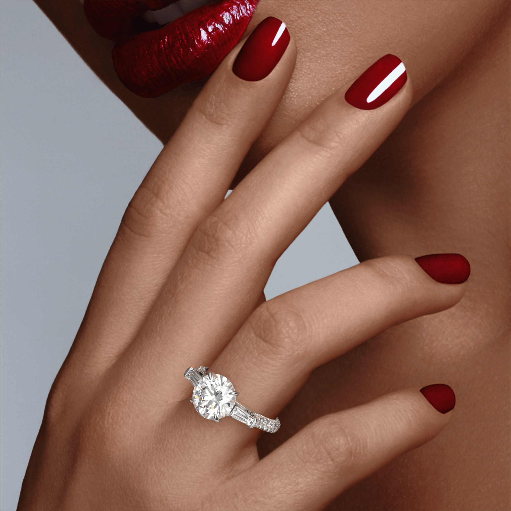 ROUND CUT, BAGUETTE FLANK SETTING, THREE PHASES TRIPLE PAVE, PLATINUM