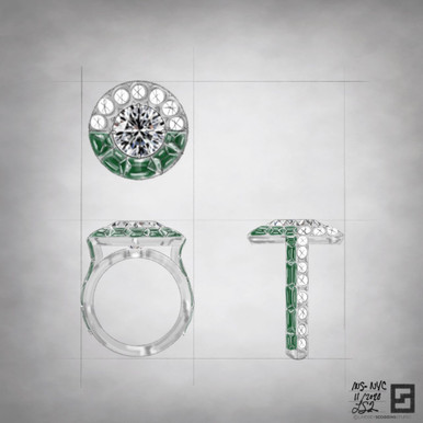 engagement ring with round center diamond and custom cut emerald baguettes set in platinum