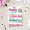 Pink and Teal Doodle Scalloped Quarter Box Stickers - S283