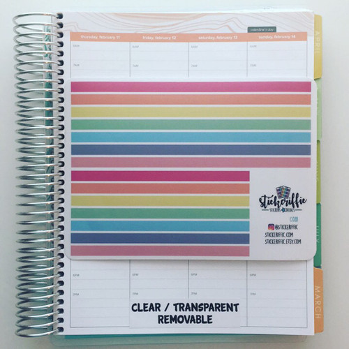 Clear / Transparent Day/Date Cover Up Stickers for Erin Condren Hourly Planner - Rainbow - C081