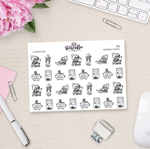 Phoebe Has to Pay Bills Planner Girl Stickers - S564
