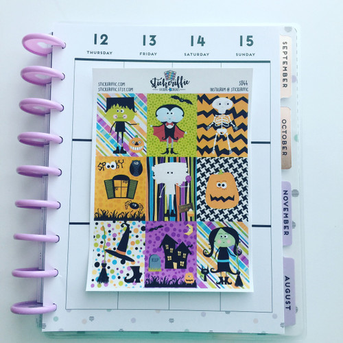 Halloween Full Box Stickers for EC VERTICAL Planner - S044