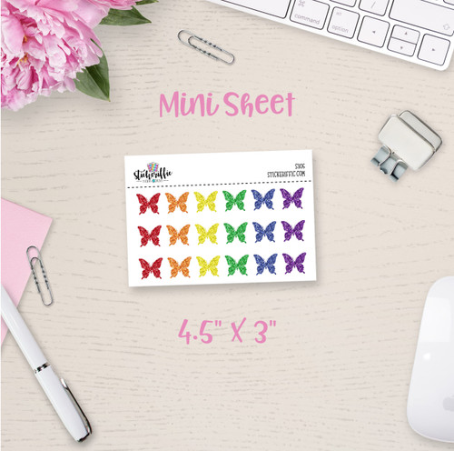 Glitter Butterflies Mini Sticker Sheet - S305