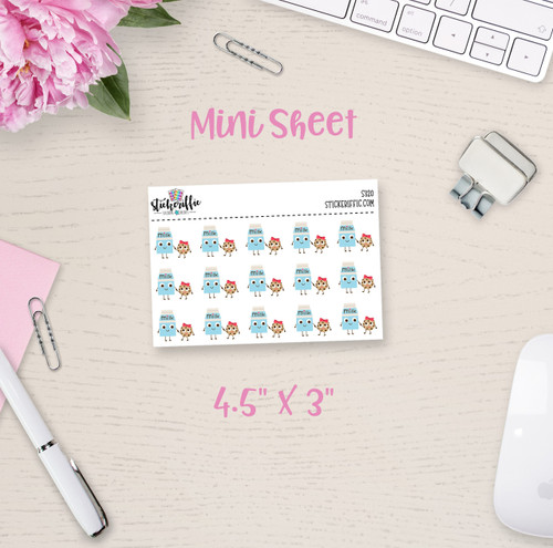 Cookies and Milk  Mini Sticker Sheet - S320