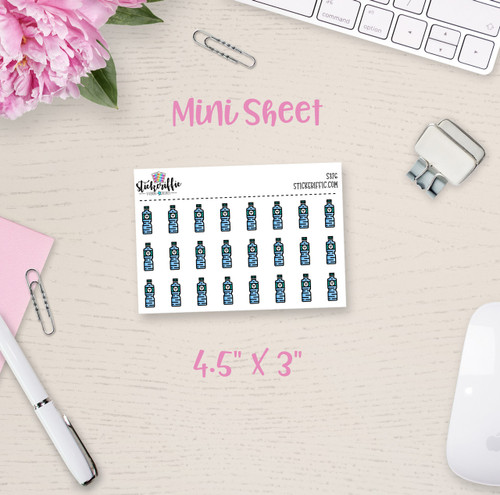 Water Bottles Mini Sticker Sheet - S376