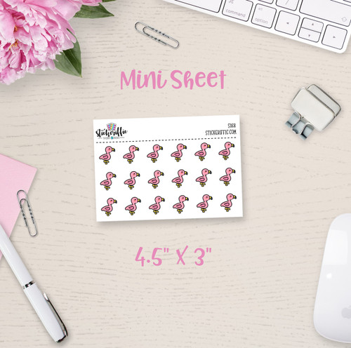 Flamingos Mini Sticker Sheet - S358