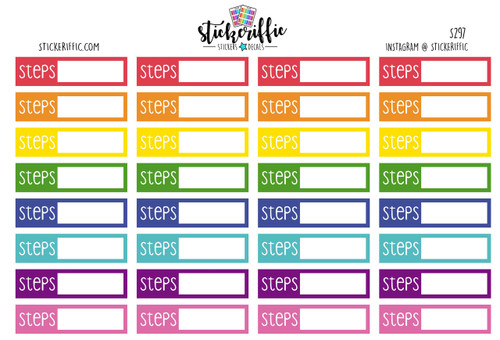 Daily Step Tracker Stickers - Rainbow - S297
