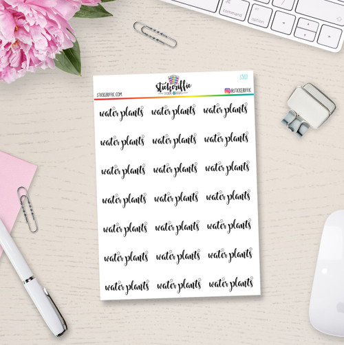 Clear / Transparent Water Plants Reminder Stickers - S507