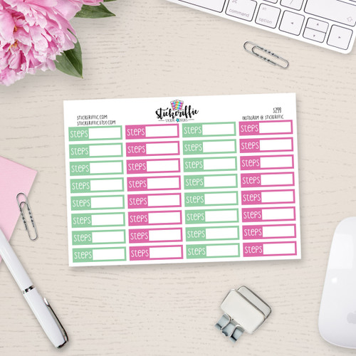 Pink and Mint Daily Step Tracker Stickers - Rainbow - S299