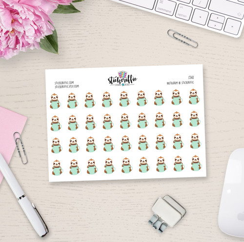 Sloth Coffee Stickers - S540