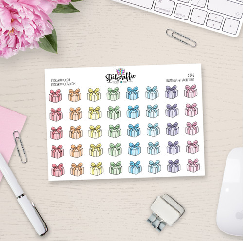 Birthday Present Stickers - Pastels - S346