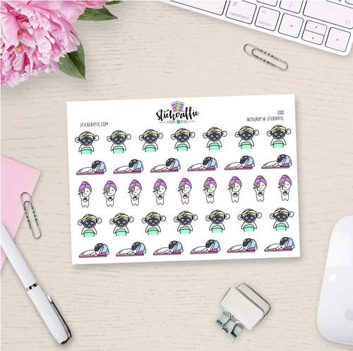 Face Mask / Spa Day Lucy - Planner Stickers - S083
