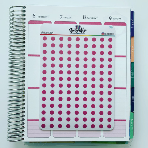 Clear / Transparent Pink Pastel Dots Stickers - S415