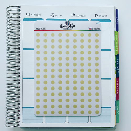 Clear / Transparent Yellow Pastel Dots Stickers - S423