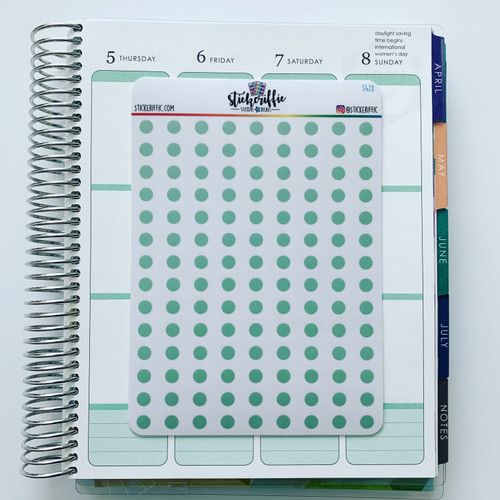 Clear / Transparent Green Pastel Dots Stickers - S428