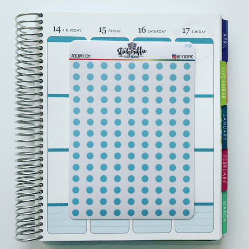Clear / Transparent Blue Pastel Dots Stickers - S430
