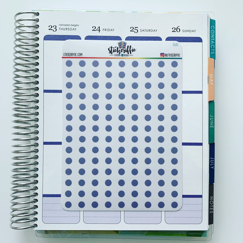 Clear / Transparent Purple Pastel Dots Stickers - S431
