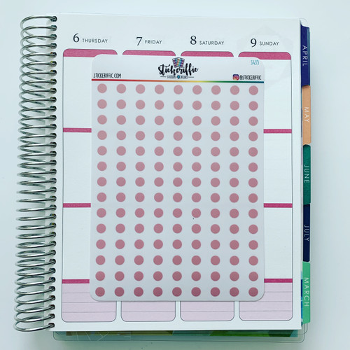 Clear / Transparent Light Pink Pastel Dots Stickers - S435