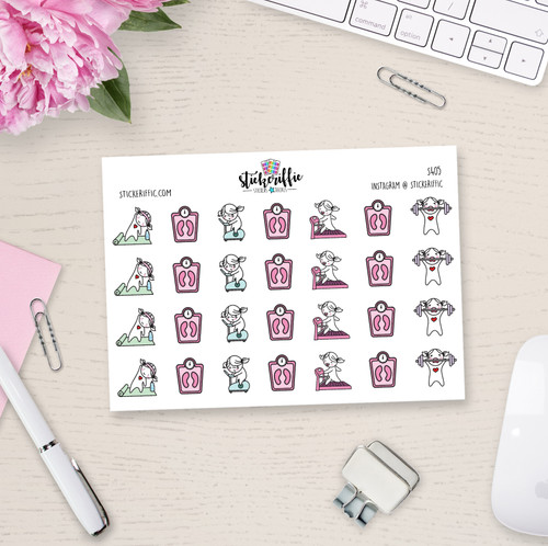 Workout / Fitness - Lucy - Reminder Planner Stickers - S405