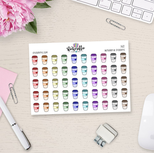 Coffee Cup Planner Stickers - S422