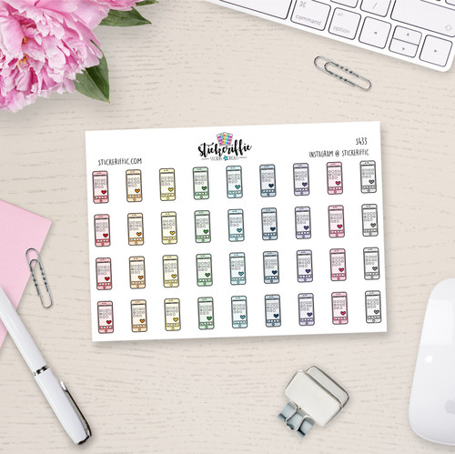 Smart Phone / Cell Phone Planner Stickers - Rainbow - S434