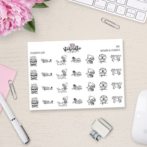 Dog Care - Phoebe Planner Stickers - S441