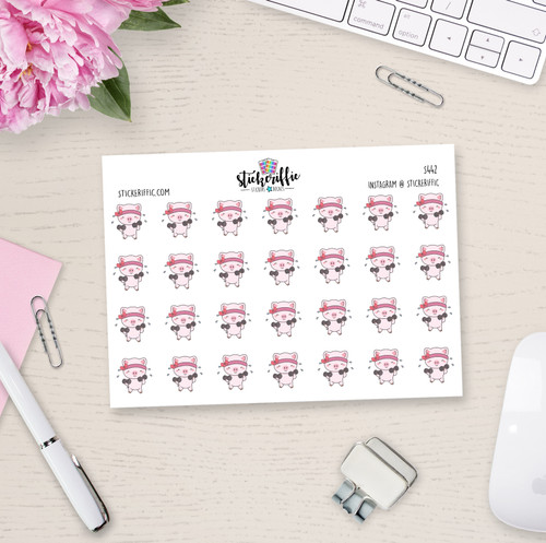 Workout / Lifting Weights - Matilda the Pig Planner Stickers - S442