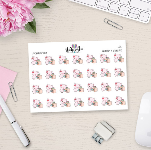 Laundry Day - Matilda the Pig Planner Stickers - S454