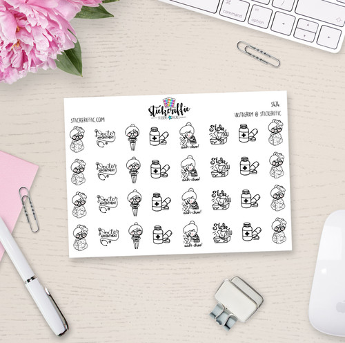 Sick Day - Phoebe Planner Stickers - S474