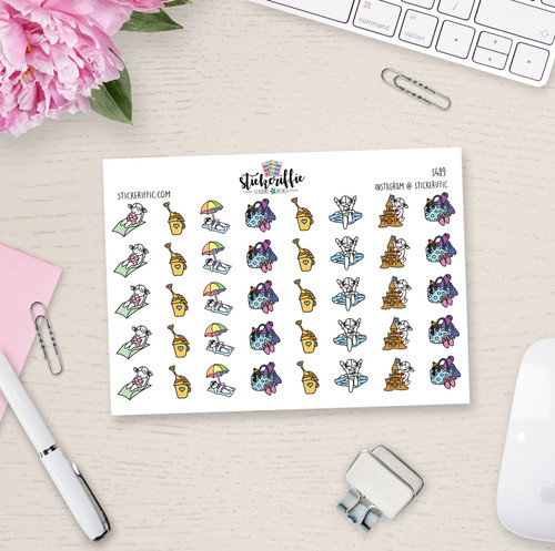 Beach Day - Lucy - Reminder Planner Stickers - S489