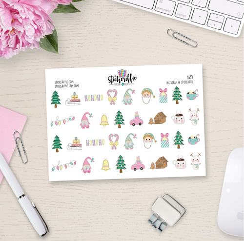 Christmas Pastel Deco Stickers - S635