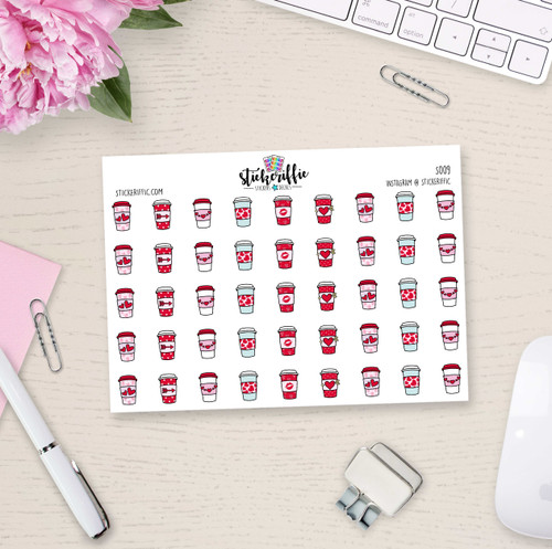 Valentine's Day Coffee Cup Stickers  - S009