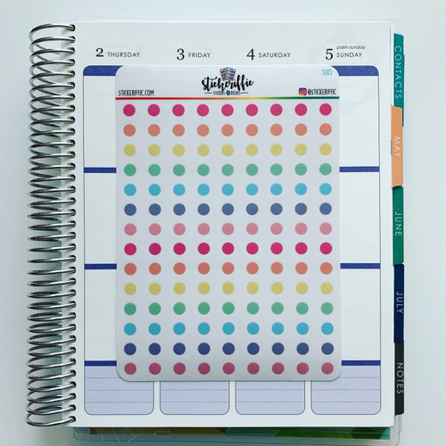 Clear / Transparent Pastel Rainbow Dots Stickers - S015