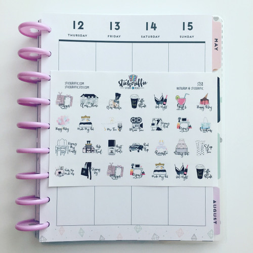 Planner Girl Reminder Icons with Script Stickers - S538