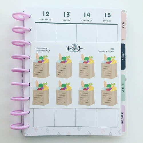 Grocery Bag Checklist Full Box Stickers - S084