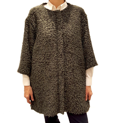 Curled Wool Cape Coat -