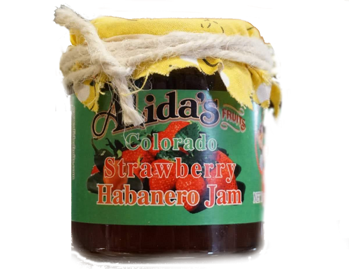 Alida's Colorado Strawberry Habanero Jam 4 oz. JAM is less firm than jelly and made from crushed or chopped fruit, sugar and pectin.