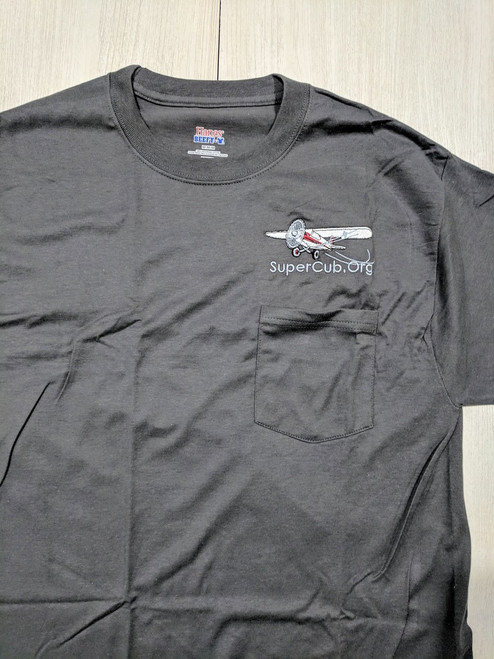Grey SuperCub.Org Embroidered Pocket T-Shirt