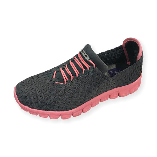 Danielle-A Charcoal/Melon Bottom Woven Sneakers