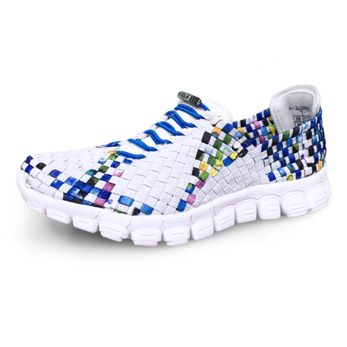 Danielle-A White/Turquoise Multi Woven Sneakers
