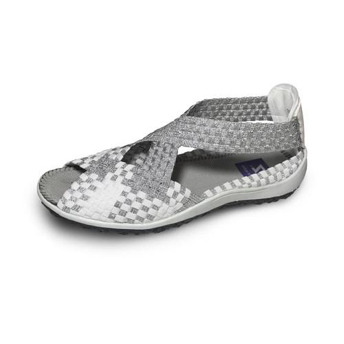 Saletto White/Silver Woven Sandals