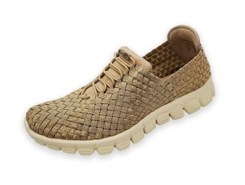 DANIELLE-A Champagne Woven Sneakers