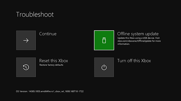 Xbox ONE Offline Update Screen