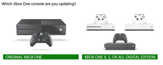 Xbox ONE Console Type Screen