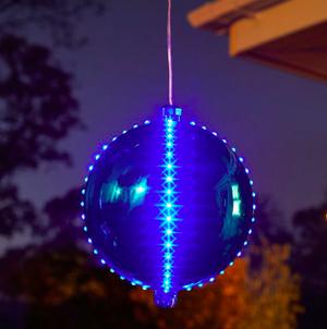 15cm Big Meteor Light Up Bauble - Blue